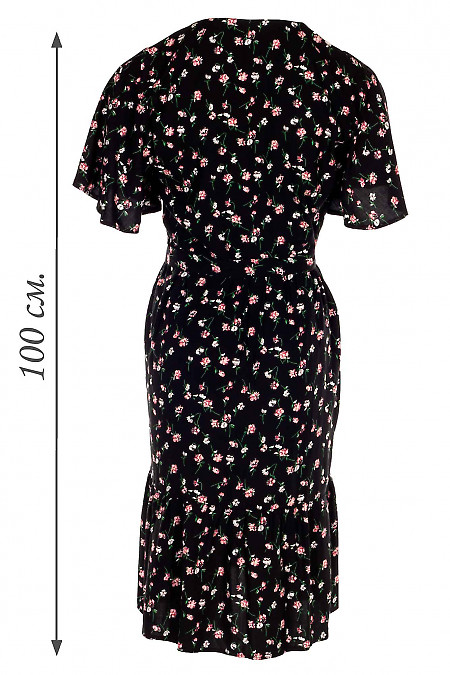 Купить черное платье в малиновый цветочек. Деловая женская одежда фото