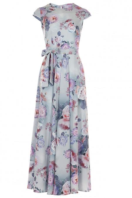 Платье длинное голубое в цветы Деловая женская одежда фото