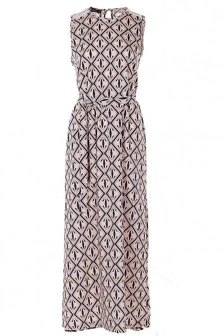 Платье длинное в ромбы персиковое Деловая Женская Одежда фото