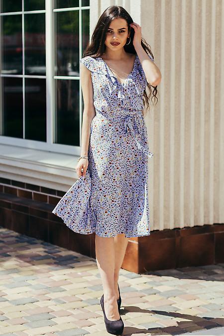 Платье штапельное голубое в мелкий цветочек. Деловая женская одежда фото