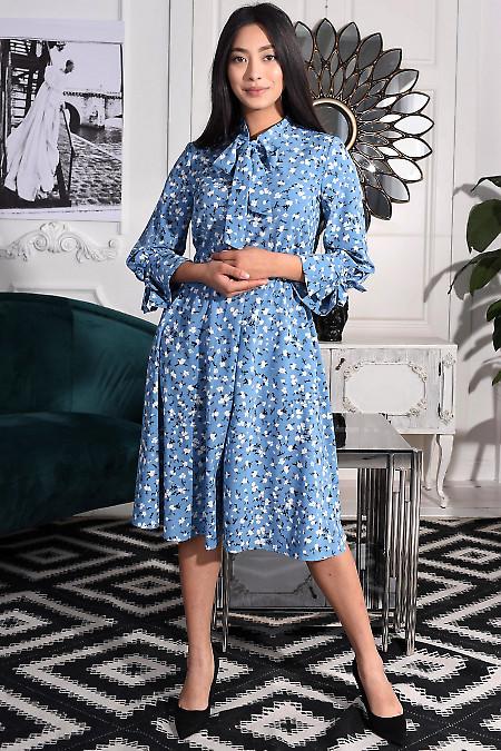 Платье голубое с завязками. Деловая женская одежда