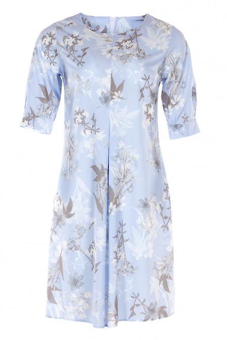 Платье голубое со встречной складкой. Деловая Женская Одежда фото