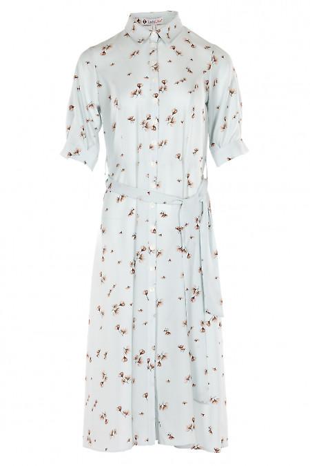 Платье голубое в серый цветок. Деловая женская одежда