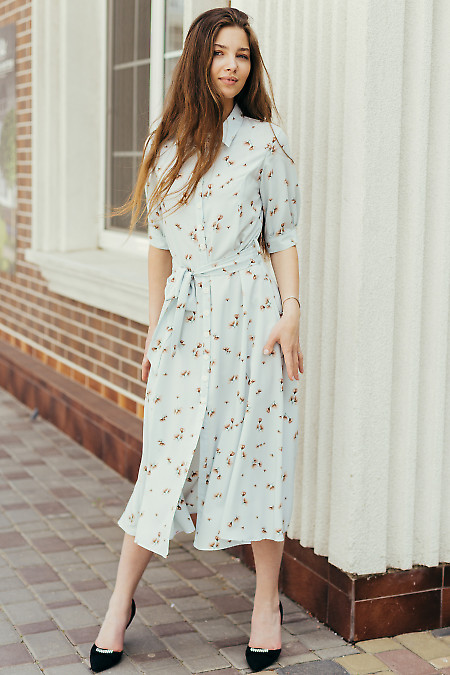 Платье голубое с рукавом летнее. Деловая женская одежда фото