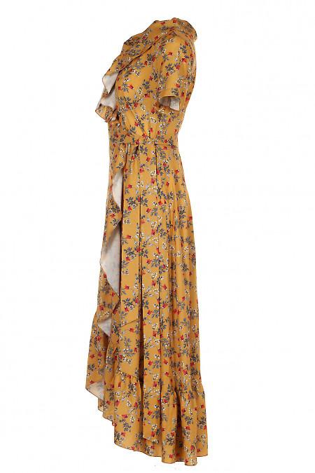 Купить нарядное горчичное платье на запах. Женская Одежда фото