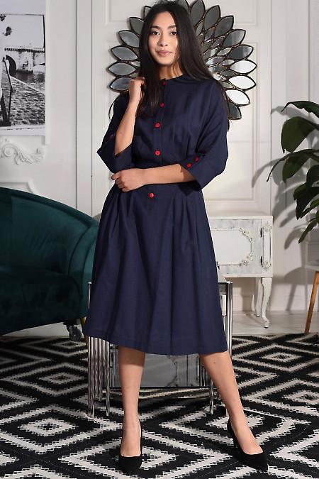 Сукня із синього льону. Діловий жіночий одяг