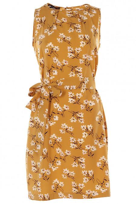 Платье горчичное в цветы Деловая женская одежда фото