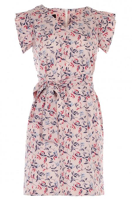 Платье летнее розовое в листочки Деловая женская одежда фото