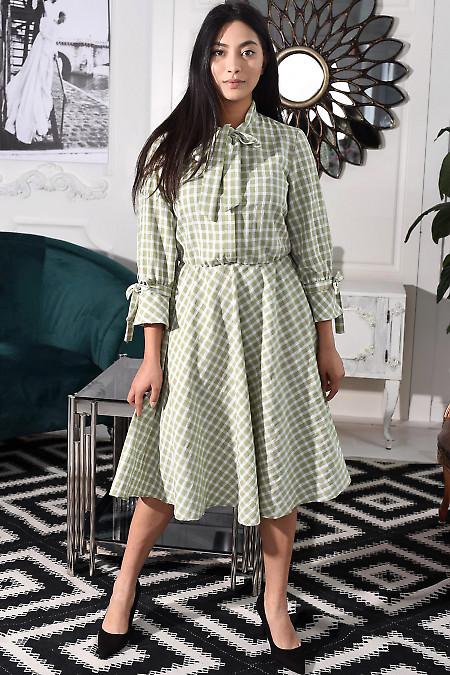 Платье летнее в оливковую клетку. Деловая женская одежда