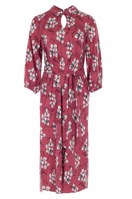 Платье льняное розовое в пол. Деловая женская одежда