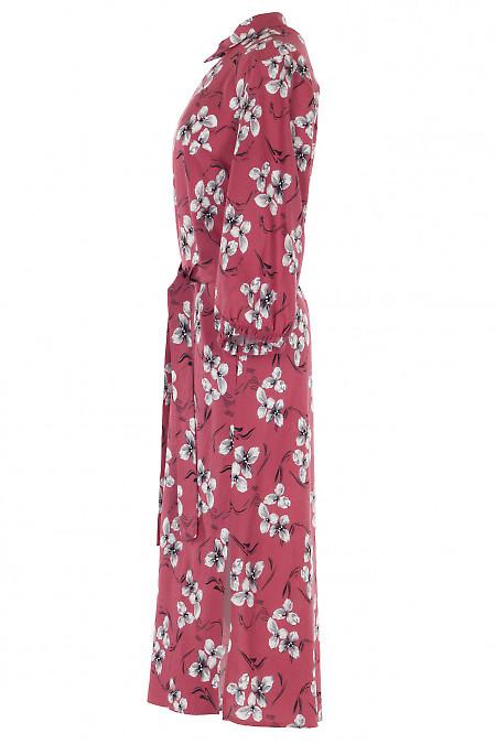Розовое платье с пышным рукавом