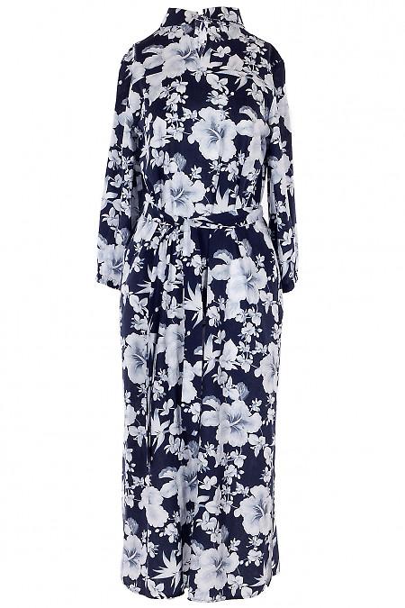 Платье льняное синее в пол. Деловая женская одежда