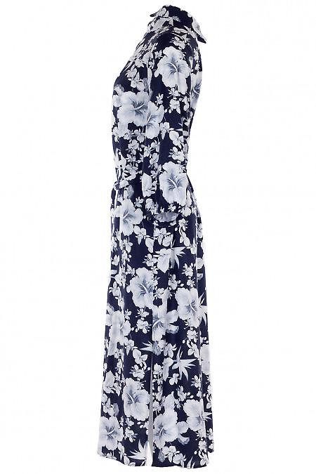 Льняное цветочное платье фото