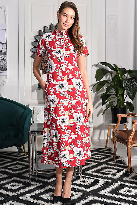 Платье малиновое в цветы. Деловая женская одежда
