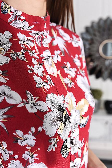 Малиновое платье из льна