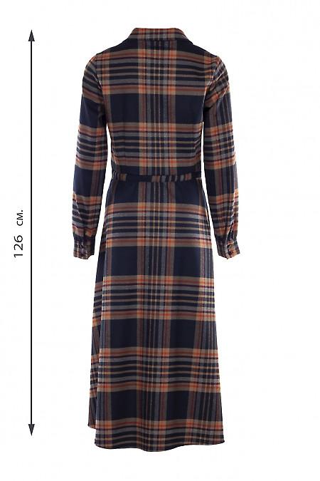 Купить платье миди теплое в клетку оранжевую. Деловая женская одежда фото