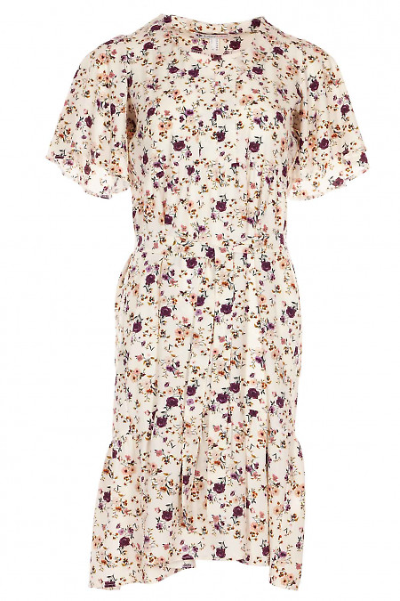 Платье молочное в сиренево-бежевый цветок. Деловая женская одежда фото