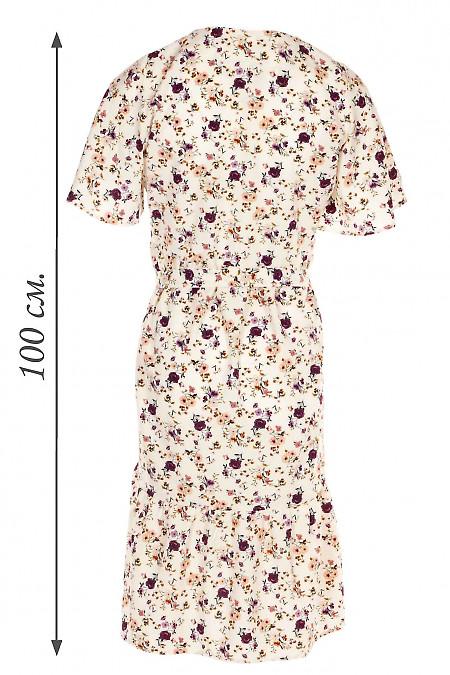 Купить молочное платье в сиренево-бежевые цветы. Деловая женская одежда фото