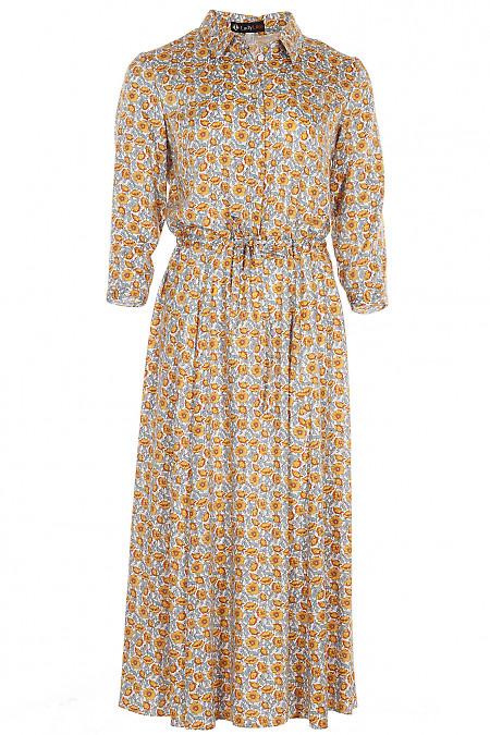 Сукня молочна в жовті квіти Діловий жіночий одяг фото