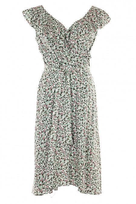 Платье мятное с воланом по горловине. Деловая женская одежда фото