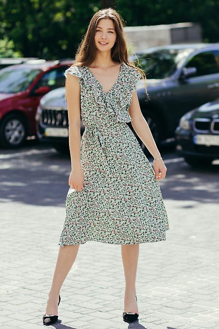 Летнее мятное штапельное платье. Деловая женская одежда фото