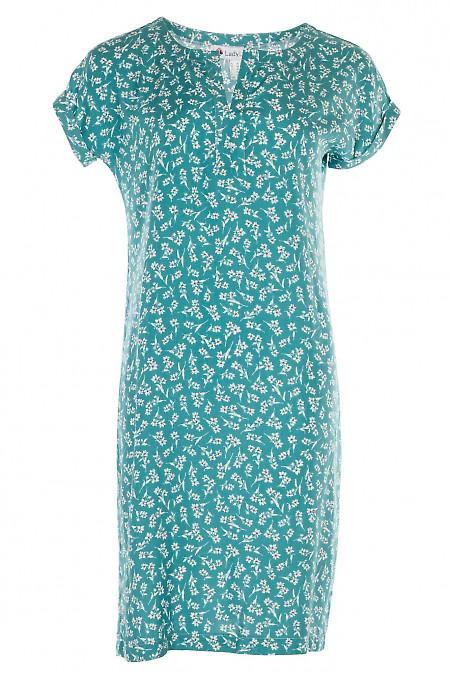Платье мятное в белый цветок с разрезом на горловине. Женская одежда фото
