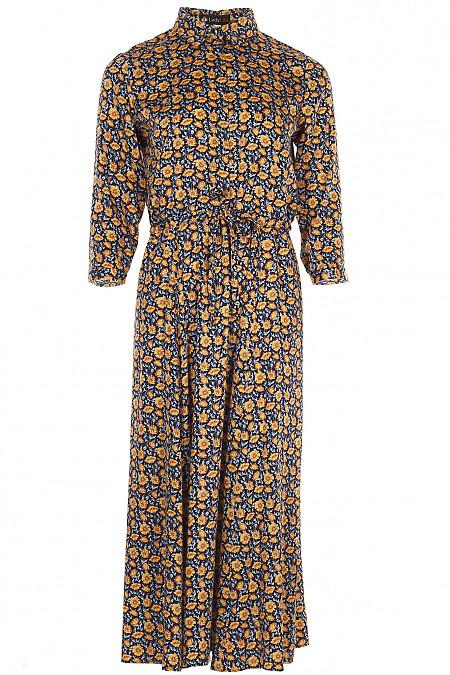 Сукня на кулісі в жовті квіти Діловий жіночий одяг фото