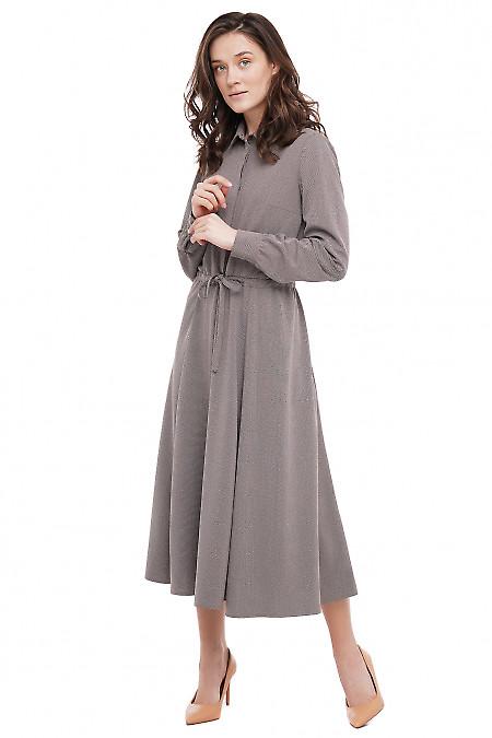Платье на кулисе в точечку Деловая Женская Одежда фото