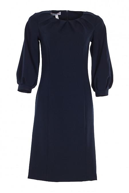 Плаття нарядне синє з защипами. Діловий жіночий одяг.