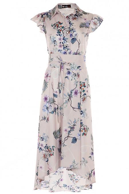 Платье нарядное в крупные цветы Деловая женская одежда фото