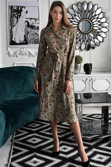 Оливкова сукня в коричневі квіти. Діловий жіночий одяг