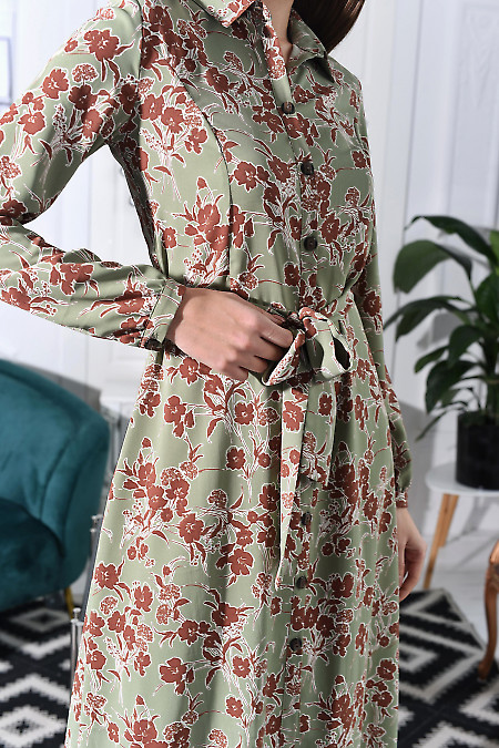 Платье оливковое в коричневые  цветы