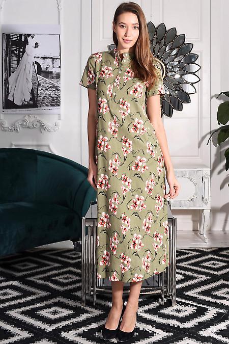 Платье оливковое в пол. Деловая женская одежда фото