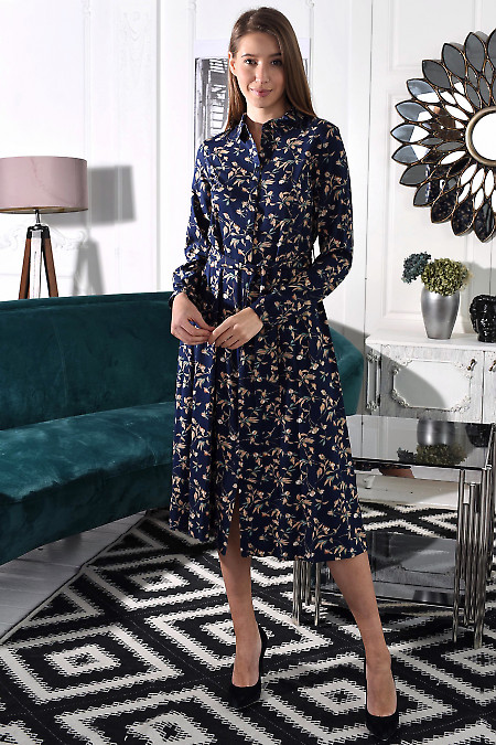 Сукня відрізна синя в квіти. Діловий жіночий одяг