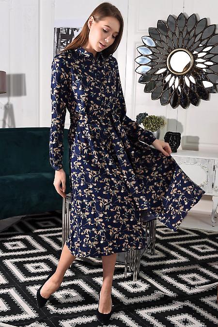 Синя сукня в квіти з пишною спідницею