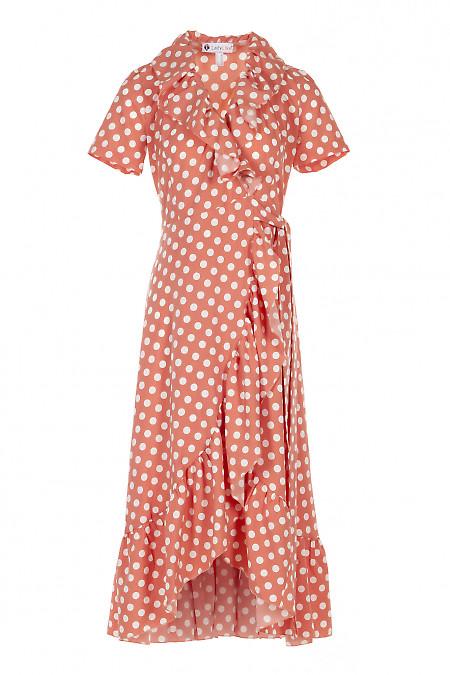 Платье персиковое с воланом в горох. Женская Одежда фото