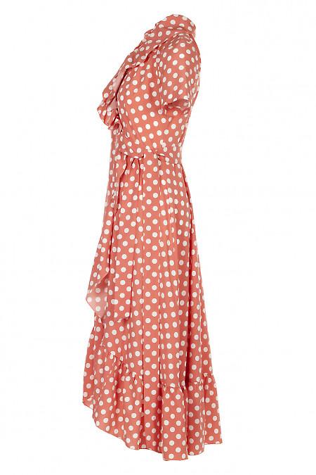 Купить персиковое платье в горох. Женская Одежда фото