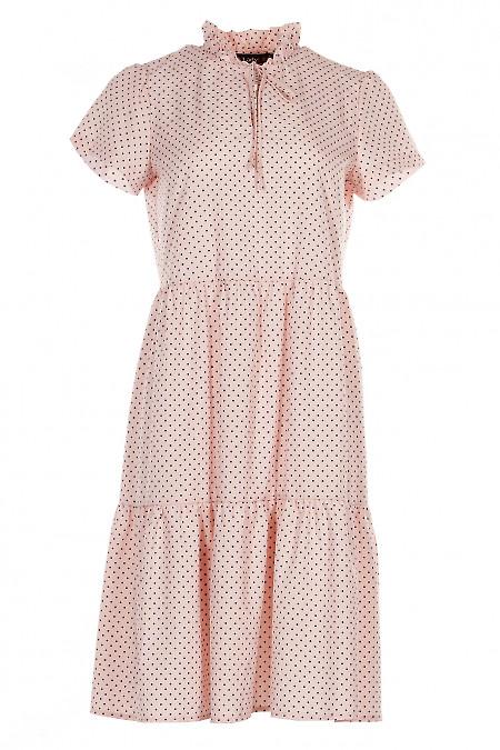 Платье персиковое в горошек Деловая женская одежда фото