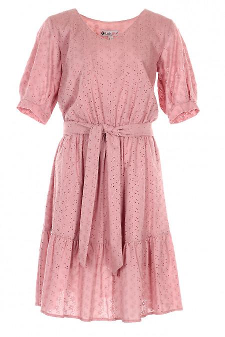Сукня рожева з прошви. Діловий жіночий одяг.