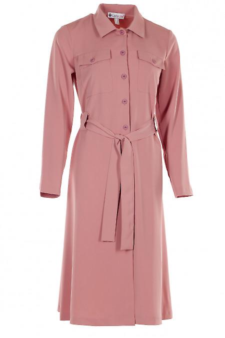 Платье розовое на пуговицах. Деловая женская одежда