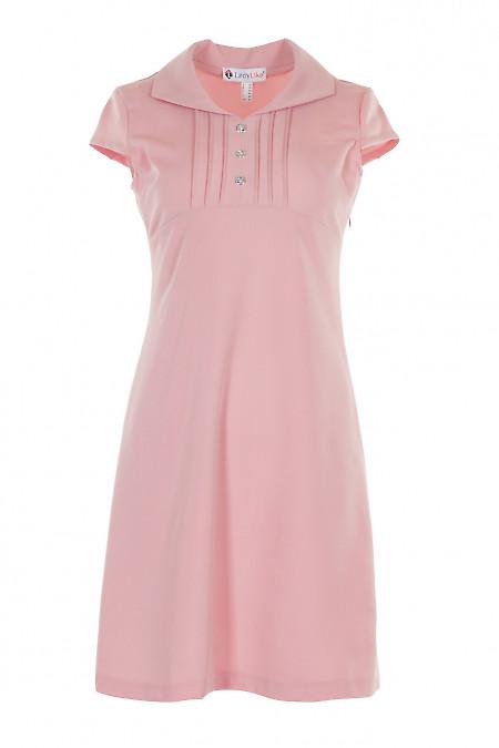 Сукня рожева з защипами і коротким рукавом. Діловий жіночий одяг