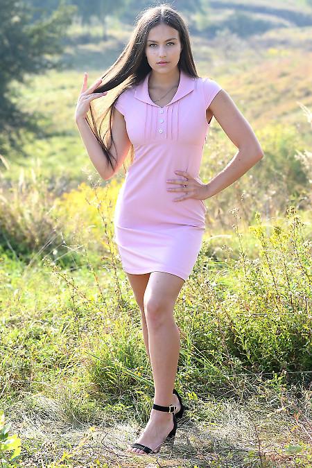Купити коротку рожеву сукню з рукавчиком. Жіночий одяг купити.