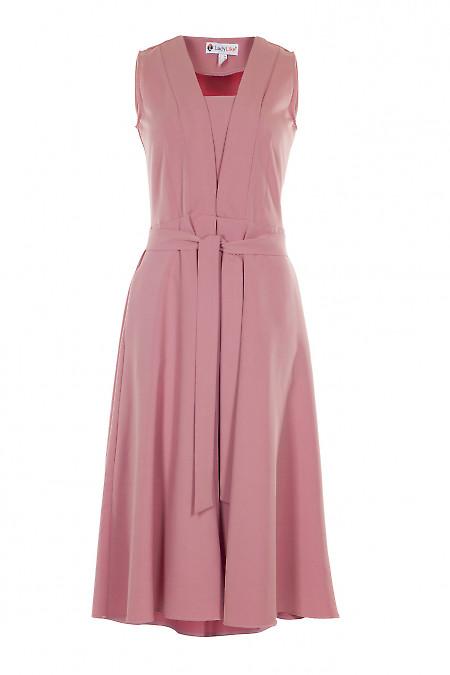 Сукня рожева з зустрічною складкою. Діловий жіночий одяг