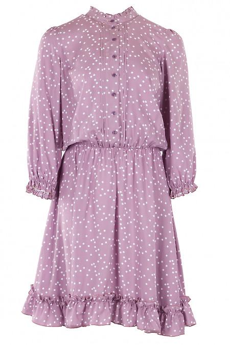 Платье розового цвета с рюшей в горох. Деловая женская одежда