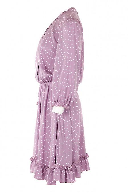 Платье розового цвета в белый горох