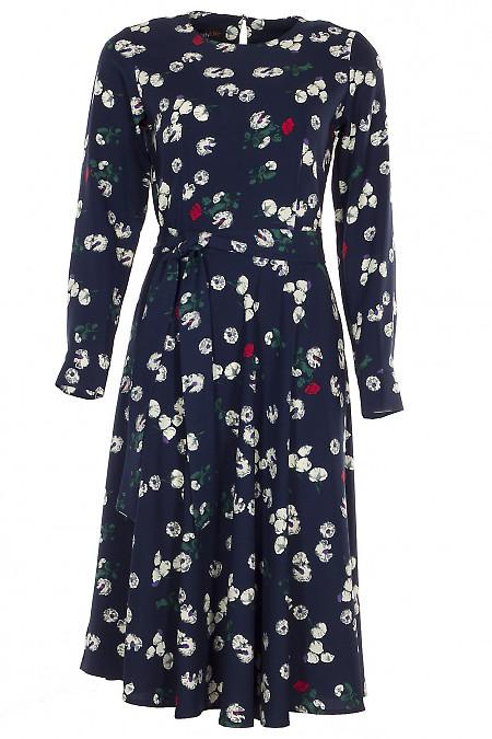 Платье с длинным рукавом синее в цветы Деловая женская одежда фото