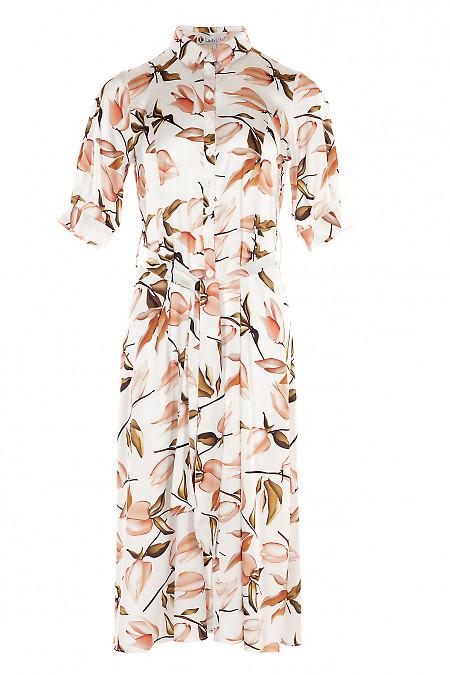 Платье с кулисой в оранжевые цветы. Деловая женская одежда фото