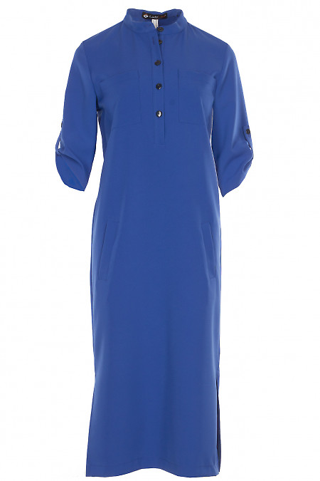 Платье с накладными карманами ярко-синее Деловая женская одежда фото