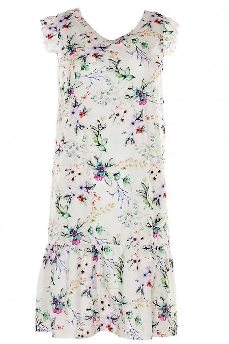 Платье с рюшем белое в цветы Деловая женская одежда фото