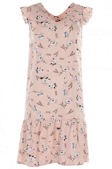 Платье с рюшем розовое в цветы Деловая женская одежда фото